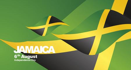 Jamaica Independence Day flag ribbon landscape background