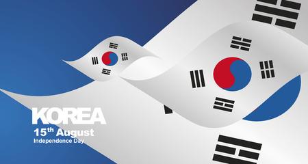 Korea Republic Independence Day flag ribbon landscape background