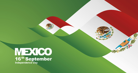 Mexico Independence Day flag ribbon landscape background