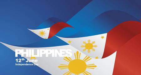 Fondo de paisaje de cinta de bandera del día de la independencia de Filipinas