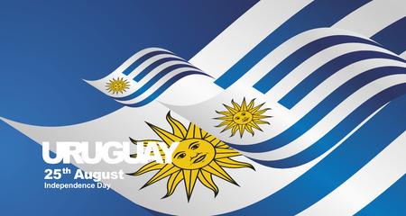 Uruguay Independence Day flag ribbon landscape background