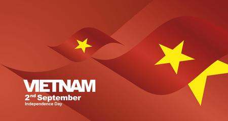 Vietnam Independence Day flag ribbon landscape background Иллюстрация