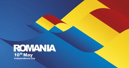 Independence Day Romania flag ribbon landscape background Illustration