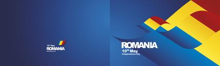 Independence Day Romania flag ribbon two fold landscape background Illustration
