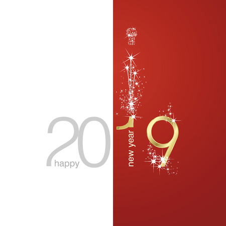 2019 Gold New Year firework white red illustration greeting card vector