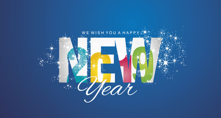Happy New Year 2019 inside firework colorful blue abstract background banner