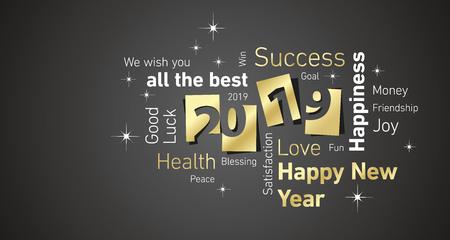 Cartolina d'auguri di felice anno nuovo 2019 spazio negativo nuvola testo oro bianco nero vettoriale