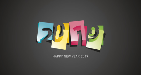 New Year 2019 abstract design negative space numbers colorful black background yellow blue green red banner