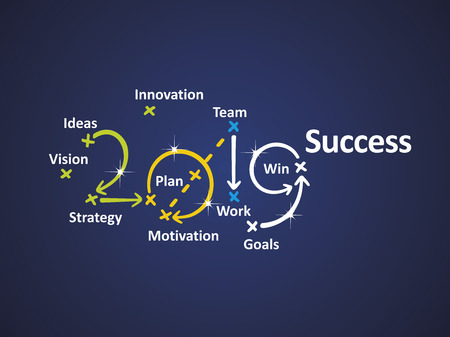 Success 2019 blue background   word cloud business banner green yellow blue white background