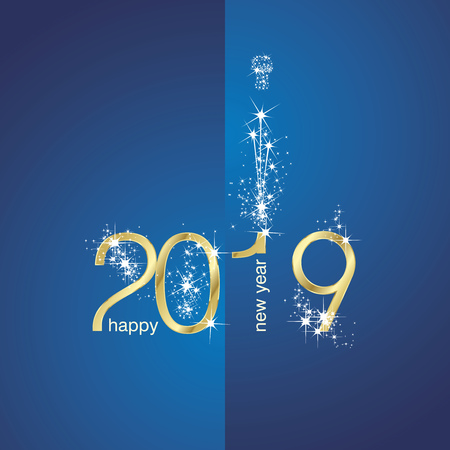 2019 Gold New Year firework blue illustration greeting card