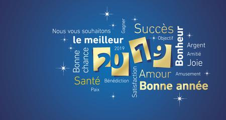Felice Anno Nuovo 2019 spazio negativo francese nuvola testo oro bianco blu biglietto di auguri