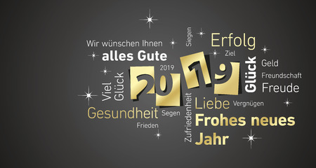 Happy New Year 2019 negative space German word cloud text gold white black   greeting card