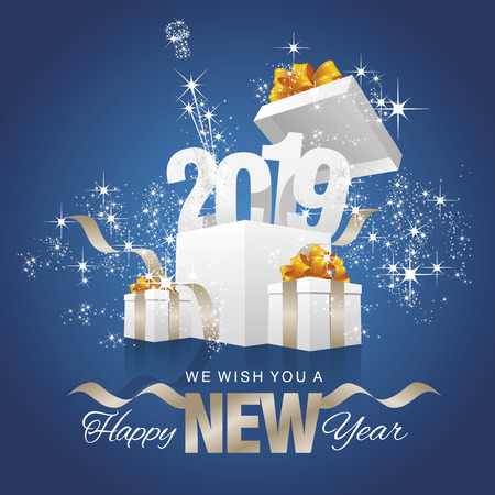 Happy New Year 2019 firework box blue background greeting card