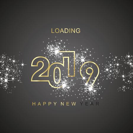 Bonne année 2019 chargement étincelle feu d'artifice icône noire d'or carte de voeux