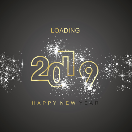 Happy New Year 2019 loading spark firework gold black   icon greeting card Çizim