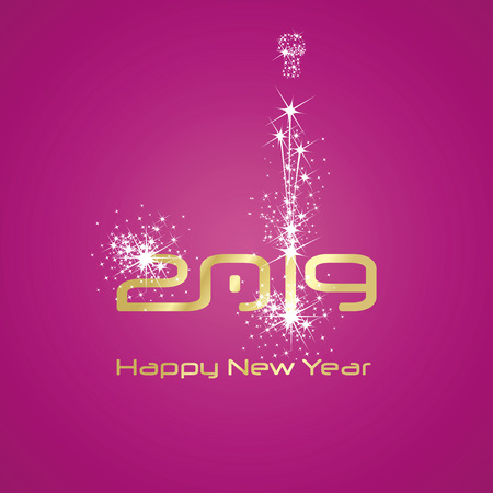 New Year 2019 fashion firework gold white  pink background greeting card