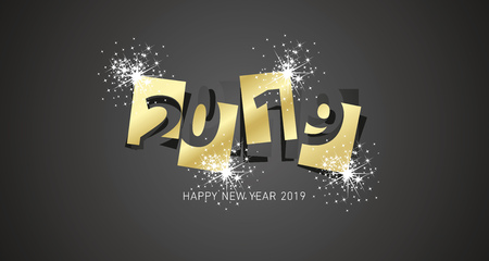 New Year 2019 firework design negative space numbers gold black background greeting card
