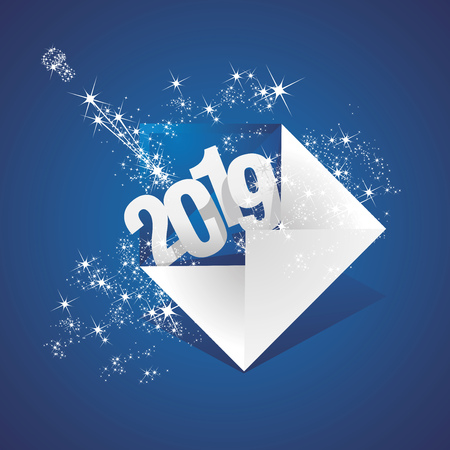 New Year 2019 greeting mail firework champagne blue background greeting card Çizim