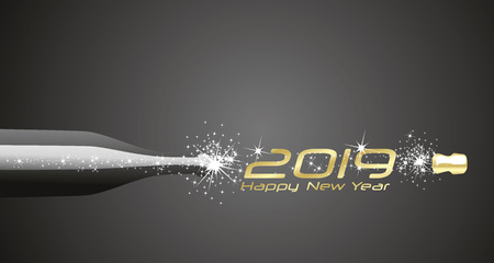 Happy New Year 2019 champagne bubbles firework gold black abstract background Çizim