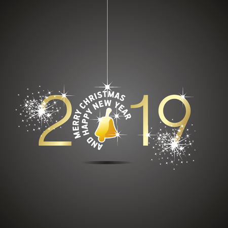 Happy New Year 2019 Merry Christmas ball bell gold yellow black background