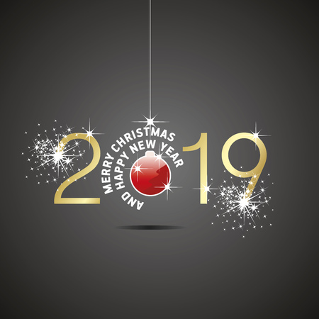 Happy New Year 2019 Christmas ball red gold black background Çizim
