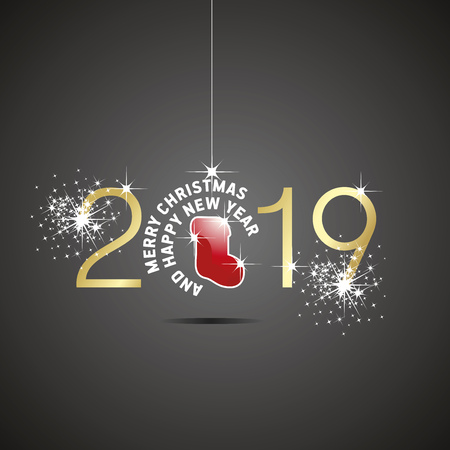 Happy New Year 2019 Christmas ball boot red gold black background Çizim