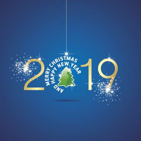 Happy New Year 2019 Merry Christmas ball tree gold green blue background Çizim