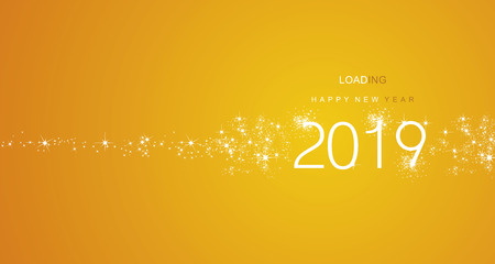 New Year 2019 greetings loading firework white yellow color vector