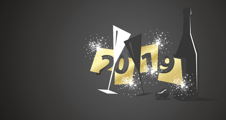 New Year 2019 negative space modern hipster design two glasses champagne bottle black background Çizim
