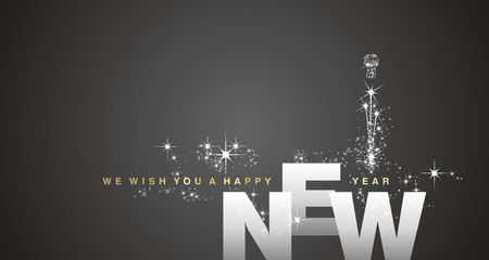 We wish you a Happy New Year 2019 silver black firework background greeting card