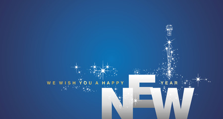 We wish you a Happy New Year 2019 silver blue background