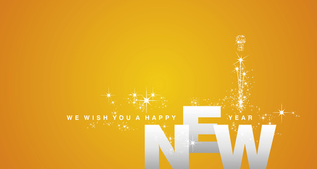 We wish you a Happy New Year 2019 silver orange yellow firework background