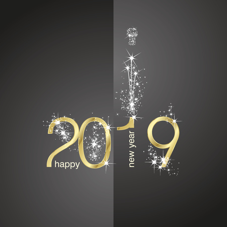 2019 Gold New Year firework champagne black illustration greeting card