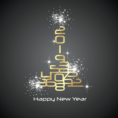 2019 Happy New Year gold white sparkle firework tree gold black background greeting card