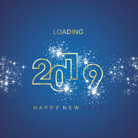 Happy New Year 2019 loading spark firework gold blue vector logo icon