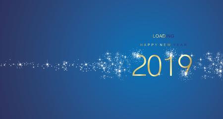 Salutations du nouvel an 2019 chargement carte de voeux de vecteur de couleur bleu blanc or feu d'artifice