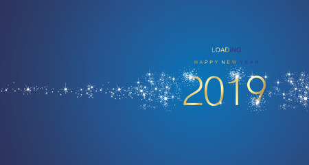 New Year 2019 greetings loading firework gold white blue color vector greeting card Illustration