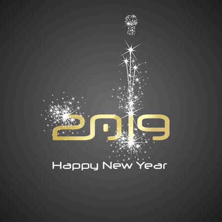 New Year 2019 cyberspace firework champagne gold white black background greeting card