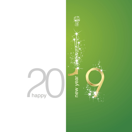 2019 Gold shining New Year firework champagne white green illustration background