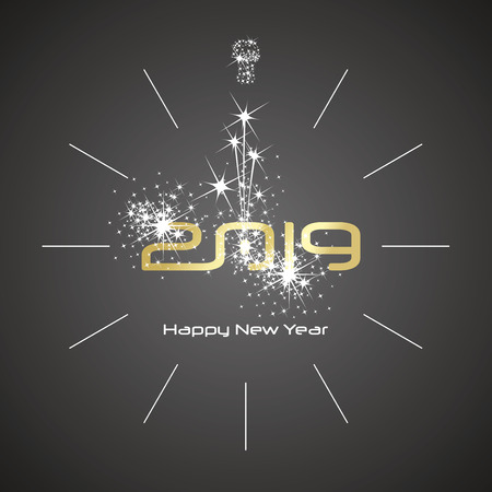 Happy New Year 2019 champagne firework clock gold shining numbers black background