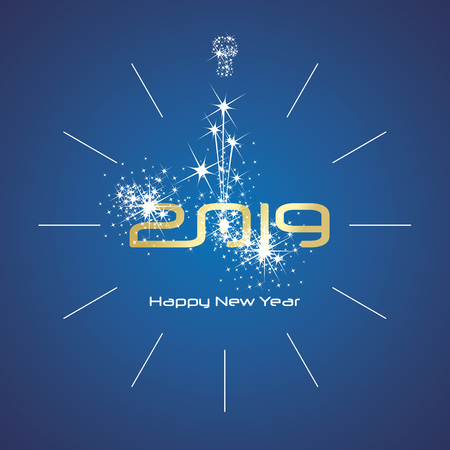 Happy New Year 2019 champagne firework clock gold shining numbers blue background