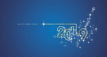 Año nuevo 2019 diseño de línea de fuegos artificiales champán dorado brillante tarjeta de felicitación de vector azul blanco
