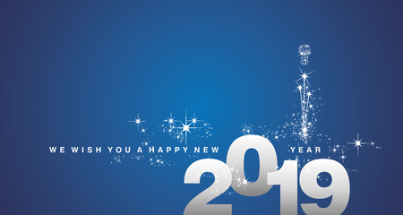 We wish you a Happy New Year 2019 silver blue greeting card Çizim