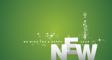 We wish you a Happy New Year 2019 silver green background Çizim