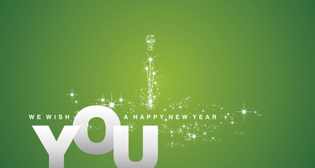 We wish you a Happy New Year silver green greeting card