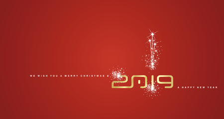 Merry Christmas and Happy New Year 2019 gold sparkle cyberspace abstract red background Çizim