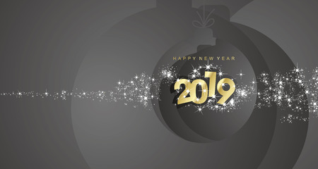 Happy New Year 2019 firework gold black Christmas ball landscape greeting card Çizim