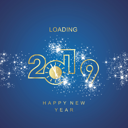 Happy New Year 2019 line design loading golden clock spark firework blue vector logo icon