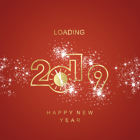 Happy New Year 2019 line design loading golden clock spark firework red vector logo icon