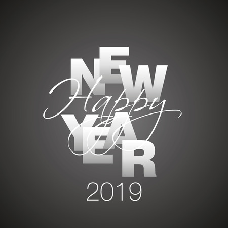 Happy New Year 2019 silver grey calligraphy black background Çizim